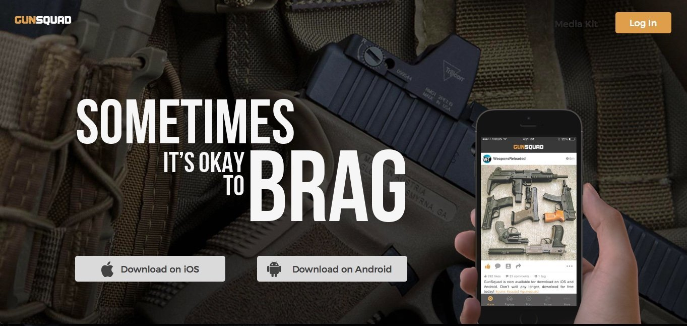 The gun squad app features an image feed that allows users to like and